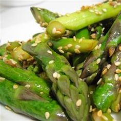 Awesomely Easy Sesame Asparagus So quick and good...the right light touch, just go easy on the olive oil!