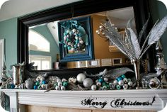 Wide mantle Christmas decorations