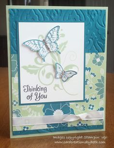 Papillon Potpourri; Stampin Up; Thinking of You; Card Creations by Beth