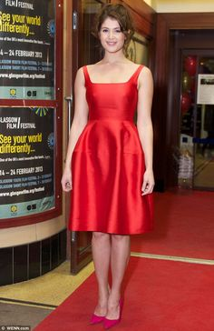 Lady in red: Gemma Arterton dazzled in a scarlet prom-style dress as she hit the red carpet at the premiere of her new movie Byzantium at the Glasgow Film Festival on Friday night