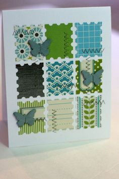postage stamp punch - great way to use scraps!  LOVE this layout & colors!!!