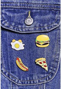 Fast Food Mixed Design Enamel Badge Set