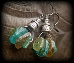 Ancient Roman Glass Discs Sterling Silver Caps by YuccaBloom