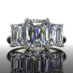 Forever Brilliant Moissanite Engagement Ring Three Stone Emerald Cut 4 – Bel Viaggio Designs