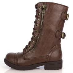 Girls Kids Lace Up Military Combat Boot Happy Soda Dome Black Tan Brown Beige