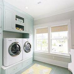Blue Cabinets, Cottage, laundry room, Benjamin Moore Palladian Blue, Hiya Papaya