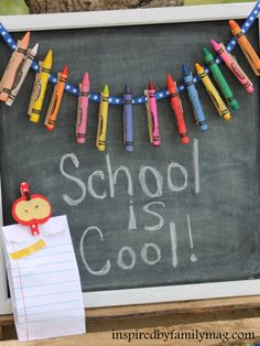 """Back to school crayon banner - would make super cute """"bunting"""" for a bulletin board!  I really like the idea of putting crayons on the clothespins- would be cute magnets, too."""