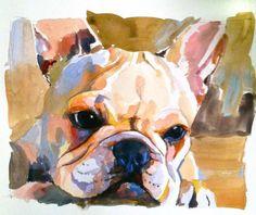 French bulldog portrait custom by JessicaGraca on Etsy, $209.00