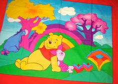 WINNIE POOH Fabric Rainbow BABY Quilt Blanket Wall Hanging Cheater Panel LAST 1