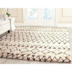 Safavieh Handmade Casablanca Moroccan Flokati Shag Ivory/ Brown Wool Rug (6' x 9') - Free Shipping Today - Overstock.com - 15864793 - Mobile