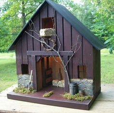 Primitive Lighted Rustic Barn Stable Folk Art burgundy  w/ worn black accents ~  Comes w/ light and cord ~  Birdhouse ~ Very unique!