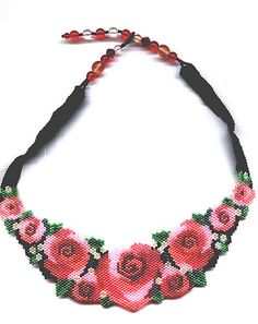#beadwork Rose Beaded Necklace