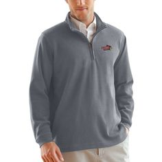 Illinois State Redbirds 1/4-Zip Flat Back Pullover Jacket - Heather Gray