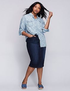 This super-soft chambray shirt makes donning stars during the day a total reality. Bonus: 2 hidden buttons on the placket prevent pulling, puckering or gaping. Classic collar. Double-button cuffs.  lanebryant.com