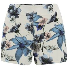 ONLY Women's Lara Floral High Waisted Shorts - Cloud Dancer (30 AUD) ❤ liked on Polyvore featuring shorts, bottoms, pants, short, multi, floral shorts, high waisted short shorts, pocket shorts, highwaisted shorts and highwaist shorts