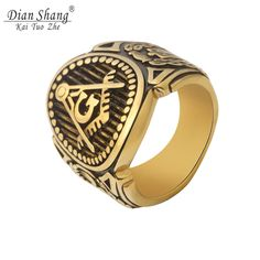 V Attract Titanium Steel Unique Religion Rings For Women and Men 2017 Vintage Gold Color Letter G Ring Wedding Jewelrry #Affiliate