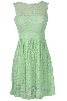Sleeveless A-Line Lace Overlay Dress in Pale Green / Pistachio / Mint