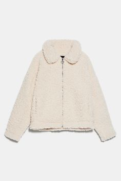 Long sleeve jacket with a regular collar. HEIGHT OF MODEL: 177 CM / Wardrobe Basics, My Wardrobe, Cream Style, Zara Jackets, Fashion Colours, Puffer Jackets, Mannequin, Jeans, Fur Coat
