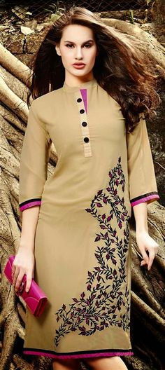 Kurti, Georgette, Machine Embroidery, Resham, Beige and Brown Color Family Pakistani Dresses, Indian Dresses, Indian Outfits, Kurta Designs, Blouse Designs, Embroidery Suits, Floral Embroidery, Machine Embroidery, Kurti Embroidery Design
