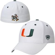 buy online 7ccfa ef532 Mens Miami Hurricanes Top of the World White Dynasty Memory Fit Fitted Hat  Miami Hurricanes Hat