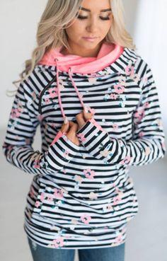 Floral Stripe Zipper Hoodie Sweatshirt – Jassie Line Long Romper, Long Sleeve Romper, Europe Fashion, Fashion Usa, Womens Fashion, Floral Stripe, Types Of Fashion Styles, Types Of Sleeves, Sleeve Types