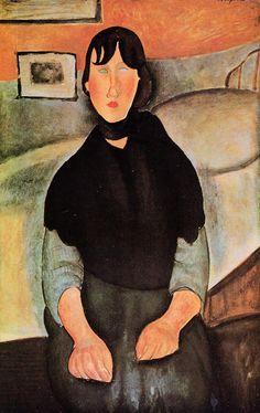 Dark Young Woman Seated by a Bed, 1918 Amedeo Modigliani. I love Modigliani so.