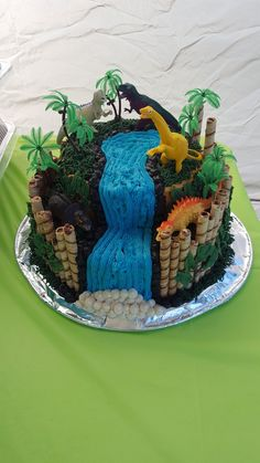 Dino cake for my son's birthday! He loved it! Dinasour Birthday Cake, Dinasour Cake, 3rd Birthday Cakes, My Son Birthday, Dinosaur Birthday, Happy Birthday, Dinosaur Cakes For Boys, Bolo Do Mickey Mouse, Dino Cake