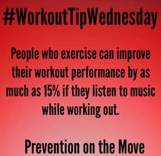 Listening to music while working out can help improve your performance by 15%! #WorkoutTips #PreventionOnTheMove #GetTheSkinny #LoveYourBody #SkinnyGeneFitness #SkinnyGeneHealthyMommas #FitnessFun #GetFit