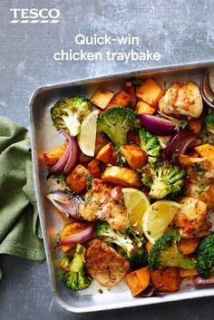 This healthy chicken recipe makes a great family dinner, with roasted chicken thighs, sweet potatoes and broccoli. See more Chicken recipes at Tesco Real Food. One Pot Meals, Main Meals, Healthy Chicken Recipes, Cooking Recipes, Chicken And Sweet Potato Recipe Healthy, Chicken Tray Bake Recipes, Chicken Recipe With Red Wine, Chicken With Sweet Potatoes, Baked Chicken Sweet Potato