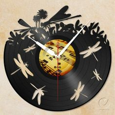 Vinyl record Thai handmade wall clock Art Designed Home Decor- DRAGONFLY