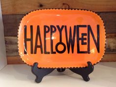 Happy Halloween Plate | Paint Your Own Pottery | Paint Your Pot | Cary North & This plate is adorable! What a great Halloween decoration! | Crafts ...