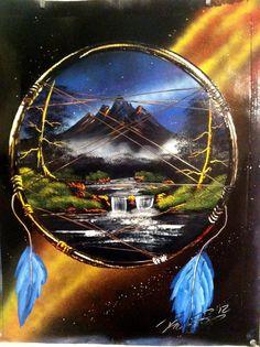 Mountain nature dreamcatcher spray painting art by - Robert Stevens