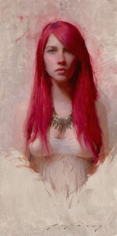 Jeremy Lipking - Red and White (Model Kaitlin Schneider) Figure Painting, Painting & Drawing, Portrait Art, Portraits, Illustrations, Illustration Art, Grand Art, Audrey Kawasaki, John Singer Sargent