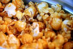 My favorite carmel popcorn recipe! Maple syrup instead of corn syrup. Its delish!