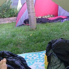 Godmorgen dejligt at sove i haven en hverdag. Selv poderne er med #outdoor #outside #eventyretstarteridinbaghave #Kolding #tent #backyard #tarp #sleep