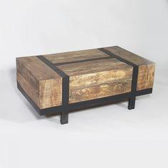 Table Basse Bois Recycle et Metal Brosse Industry