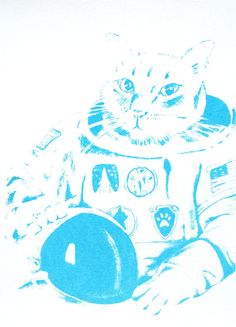 Astronaut Cat Outer Space Glow-In-The-Dark Print by TheDesertMoon