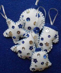 Blue and Silver Felt Christmas Ornaments- set of 5. $20.00, via Etsy.