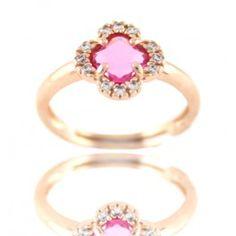 Sortija piedra rosa forma flor y circonitas en plata/oro rosa/ Flower shaped stong ring with zirconites in silver/ pink gold 23€