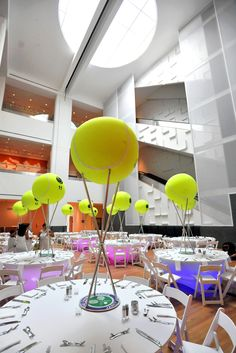 Cool tennis centerpieces