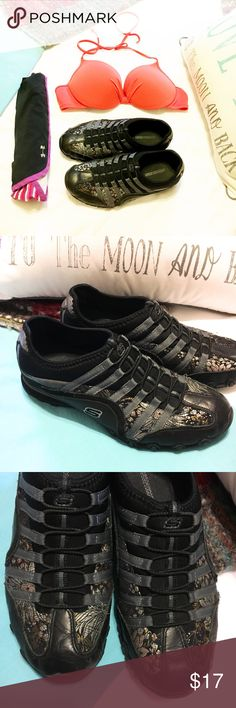 SKECHERS  BLACK & GOLD RARE TENNIS ⚡️⚡️⚡️⚡️⚡️⚡️⚡️ SUPER CUTE BLACK & GOLD PRINT SKECHERS ⚡️⚡️⚡️⚡️⚡️⚡️⚡️⚡️💕💕💕💕💕SIZE 7.5 gently loved but great condition will last a very long time ⚡️⚡️⚡️⚡️⚡️💕💕💕💕💕💕💕⚡️⚡️⚡️⚡️⚡️See photos for wear 😘 Skechers Shoes Athletic Shoes