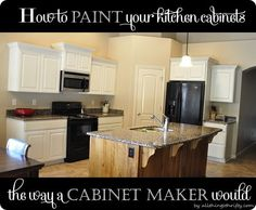 How to paint your kitchen cabinets the way a cabinet maker would! #kitchen #paintedcabinets #whitecabinets