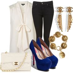 topshop blouse and jeans, Chanel purse, Betsey Johnson shoes