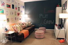 Playroom and family hangout enlived with colorful accessories, a chalkboard wall and kid-friendly, diy ottomans.