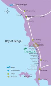 Map of Ngapali Hotels Myanmar