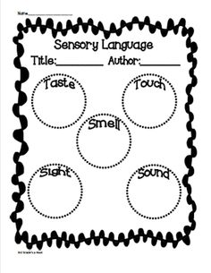 poems with sensory image graphic organizer 5th Grade Writing, Third Grade Reading, Writing Classes, Kids Writing, Writing Ideas, Second Grade, Sensory Images, Sensory Words, Teaching Poetry