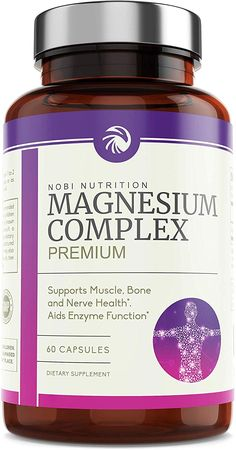 Nobi Nutrition High Absorption Magnesium Complex - Premium Mag Supplement for Sleep, Leg Cramps, Muscle Relaxation & Recovery - for Women & Men - Pure, Gluten-Free Pills - 60 Vegan Capsules Fibromyalgia Supplements, Sleep Supplements, Magnesium Supplements, Natural Supplements, Magnesium Deficiency, Anxiety Relief, Stress And Anxiety, Pain Relief, Chronic Fatigue