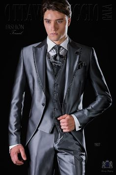 Italian bespoke anthracite grey frock coat suit with jacquard dark grey contrast, peak lapels and 1 button. Wedding suit 1907 Fashion Formal Collection Ottavio Nuccio Gala.