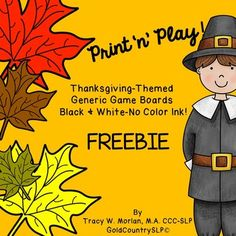 No color ink required!  Two generic game boards - Thanksgiving themed. Game markers included.  Great for working on any activity. SLPs - you can use these while working on pronouns -  he/she/they/it. PLEASE LEAVE FEEDBACK!
