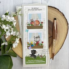 Tall & Skinny Window Dressing Cards (Mama Elephant) It's Your Birthday, Birthday Messages, Birthday Cards, Mama Elephant Stamps, Dyi, Brown Dog, Cat Cards, Hero Arts, Card Tags